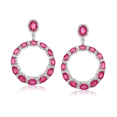 10.75 ct. t.w. Ruby and 1.80 ct. t.w. Diamond Circle Drop Earrings in 18kt White Gold, , default