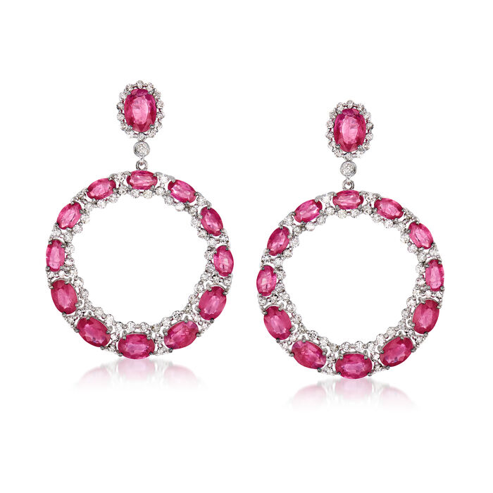 10.75 ct. t.w. Ruby and 1.80 ct. t.w. Diamond Circle Drop Earrings in 18kt White Gold