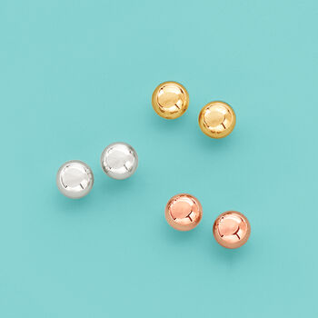 Tri-Colored Gold Jewelry Set: Three Pairs of 6mm Ball Stud Earrings.