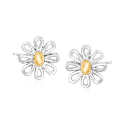 Sterling Silver and 14kt Yellow Gold Flower Earrings