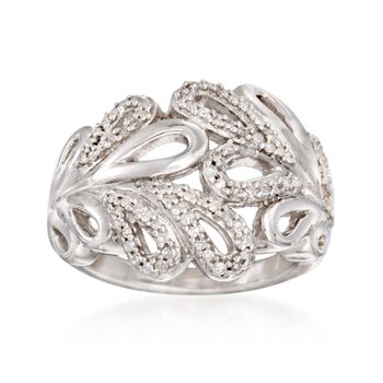 .25 ct. t.w. Diamond Openwork Leaves Ring in Sterling Silver, , default