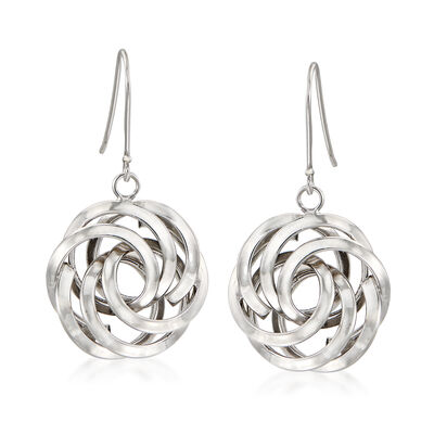 Sterling Silver Rosette Drop Earrings, , default