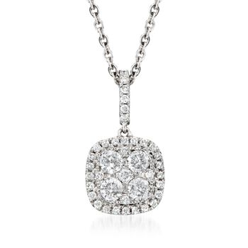 ".65 ct. t.w. Diamond Pendant Necklace in 18kt White Gold. 16"", , default"