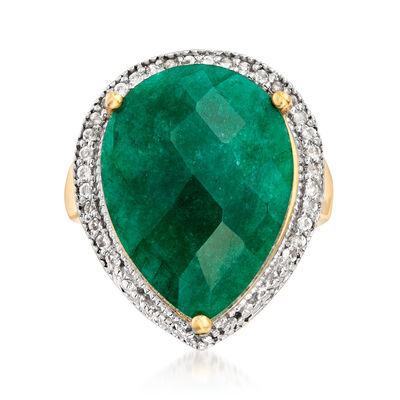 11.00 Carat Emerald and .40 ct. t.w. White Topaz Ring in 18kt Gold Over Sterling