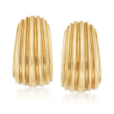 C. 1990 Vintage 18kt Yellow Gold J-Hoop Earrings, , default