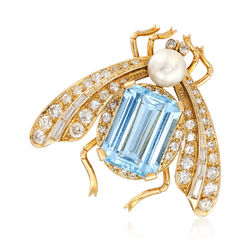 C. 1960 Vintage 6.50 Carat Aquamarine and 1.10 ct. t.w. Diamond Moth Pin With 6.5mm Cultured Pin in 18kt Gold , , default