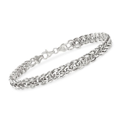 18kt White Gold Wheat-Link Bracelet, , default