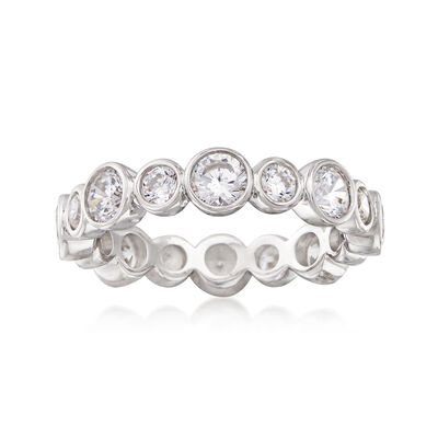 2.10 ct. t.w. Bezel-Set CZ Eternity Band in Sterling Silver, , default