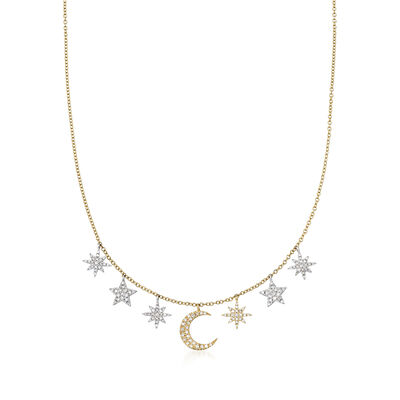 .43 ct. t.w. Diamond Moon and Star Necklace in 14kt Two-Tone Gold, , default