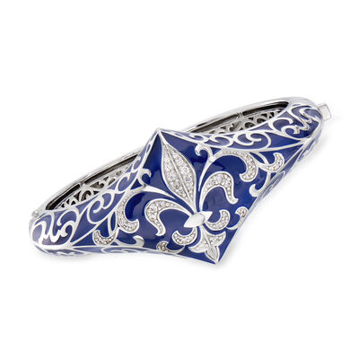 "Belle Etoile ""Josephine"" Blue Enamel and .63 ct. t.w. CZ Bangle Bracelet in Sterling Silver, , default"