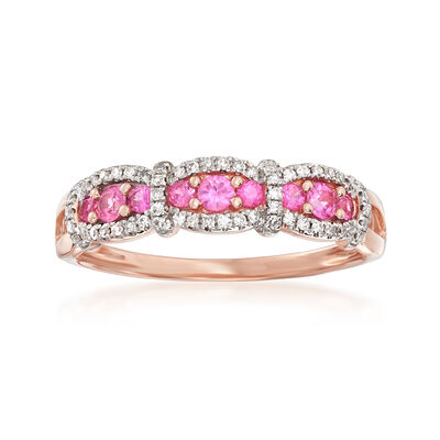 .20 ct. t.w. Pink Sapphire and .15 ct. t.w. Diamond Ring in 14kt Rose Gold, , default