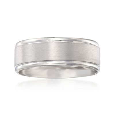 Men's 8mm 14kt White Gold Brushed Wedding Ring, , default