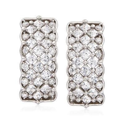 1.95 ct. t.w. CZ Multi-Row Hoop Earrings in Sterling Silver, , default