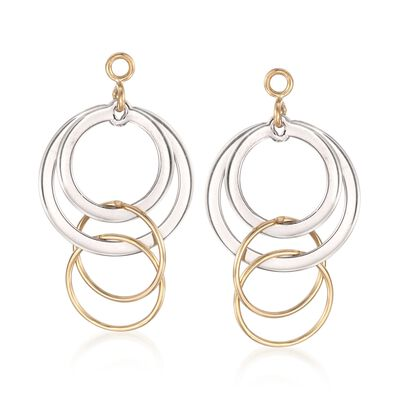 14kt Yellow Gold and Sterling Silver Circle Drop Earring Jackets, , default