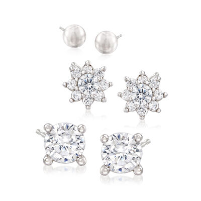 1.45 ct. t.w. CZ and Sterling Silver Stud Jewelry Set: Three Pairs of Earrings, , default