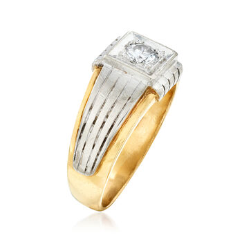 C. 1980 Vintage .50 Carat Diamond Men's Ring in 14kt Two-Tone Gold. Size 11, , default