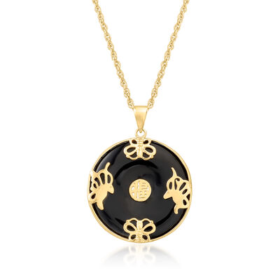 """Black Agate """"Good Fortune"""" Butterfly Pendant Necklace in 18kt Gold Over Sterling"""