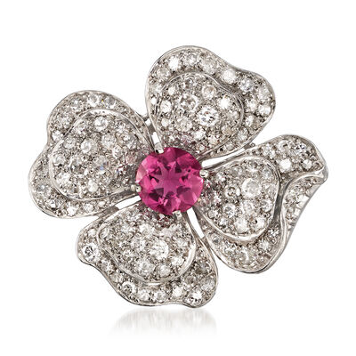 C. 1940 Vintage 4.25 ct. t.w. Diamond and Pink Glass Flower Pin in Palladium, , default