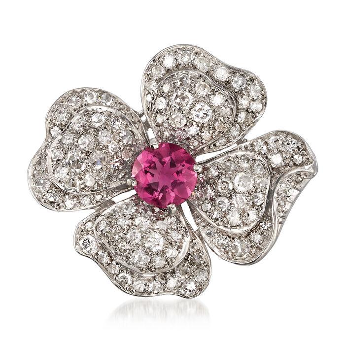 C. 1940 Vintage 4.25 ct. t.w. Diamond and Pink Glass Flower Pin in Palladium, , default