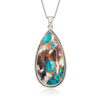 "Pear-Shaped Kingman Turquoise Pendant Necklace in Sterling Silver. 16"", , default"
