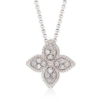 "Roberto Coin ""Princess"" .17 ct. t.w. Diamond Medium Flower Pendant Necklace in 18kt White Gold. 16"", , default"