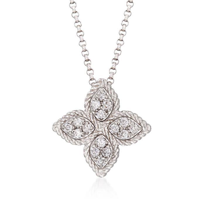 "Roberto Coin ""Princess Flower"" .17 ct. t.w. Diamond Medium Flower Pendant Necklace in 18kt White Gold. 16"", , default"