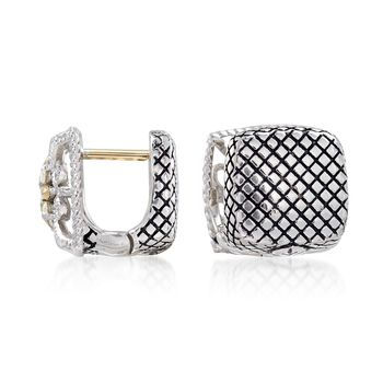"Andrea Candela Sterling Silver and 18kt Yellow Gold Square Huggie Hoop Earrings With Diamond Accents. 3/8"", , default"