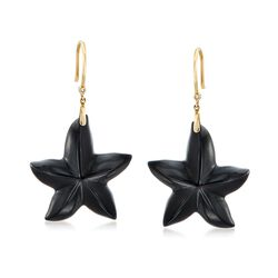 Black Onyx Star Drop Earrings With Diamond Accents in 14kt Gold , , default