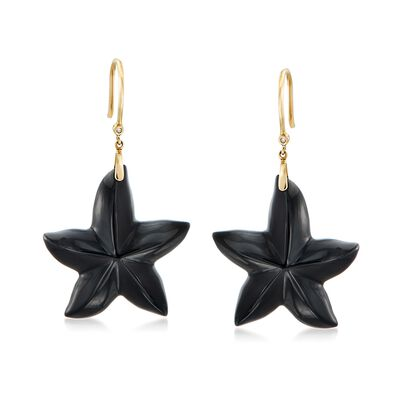 Black Onyx Star Drop Earrings with Diamond Accents in 14kt Gold, , default