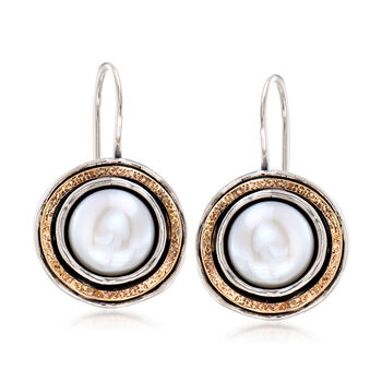 9.5-10mm Cultured Pearl Drop Earrings in Sterling Silver and 14kt Yellow Gold