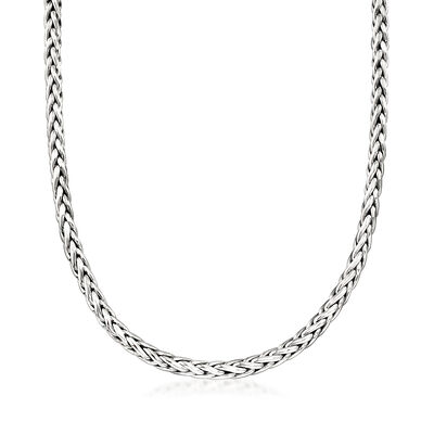 Zina Sterling Silver Wheat Chain Toggle Necklace