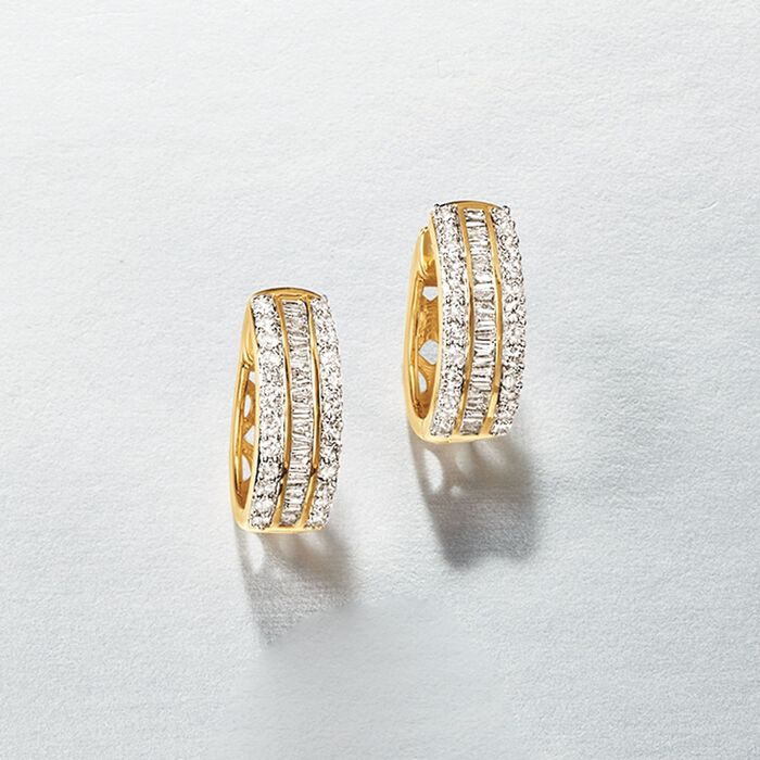 .50 ct. t.w. Baguette and Round Diamond Huggie Hoop Earrings in 14kt Yellow Gold