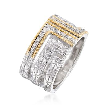 "Andrea Candela ""Laberinto"" .11 ct. t.w. Diamond Ring in 18kt Yellow Gold and Sterling Silver. Size 7"