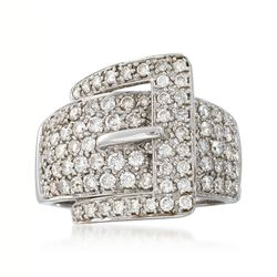 C. 1990 Vintage 1.75 ct. t.w. Pave Diamond Buckle Ring in 14kt White Gold. Size 7, , default