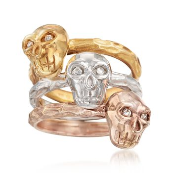 Tri-Colored Sterling Silver Skull Jewelry Set: Three Rings With .11 ct. t.w. Diamonds, , default