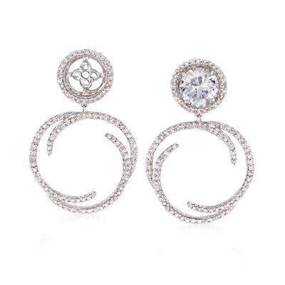 .50 ct. t.w. Diamond Swirl Drop Earring Jackets in 14kt White Gold, , default