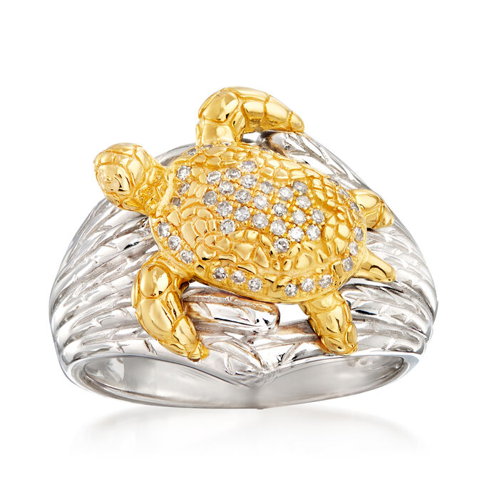 .12 ct. t.w. Diamond Turtle Ring in Sterling Silver and 18kt Gold Over Sterling