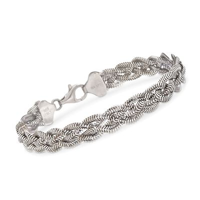 Italian Sterling Silver Braided Snake Chain Bracelet