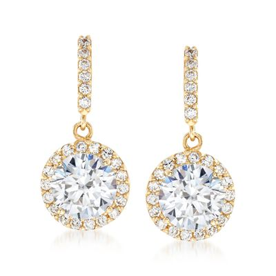 1.80 ct. t.w. CZ Halo Drop Earrings in 14kt Yellow Gold