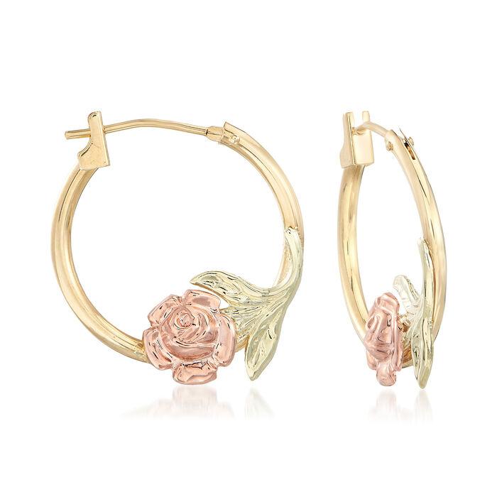 """14kt Two-Tone Gold Floral Hoop Earrings. 5/8"""", , default"""
