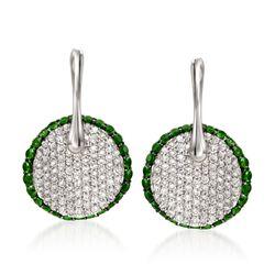 Simon G. .78 ct. t.w. Tsavorite and .64 ct. t.w. Diamond Drop Earrings in 18kt White Gold, , default