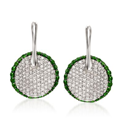 Simon G. .78 ct. t.w. Tsavorite and .64 ct. t.w. Diamond Drop Earrings in 18kt White Gold, , default
