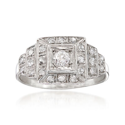 C. 1950 Vintage .55 ct. t.w. Diamond Cluster  Ring in Platinum, , default
