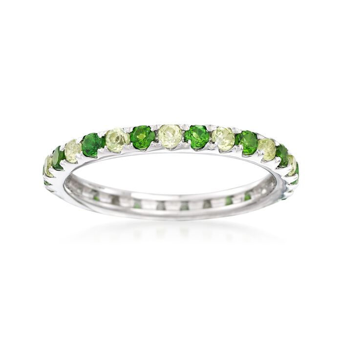 .50 ct. t.w. Chrome Diopside and .50 ct. t.w. Peridot Eternity Ring in Sterling Silver, , default