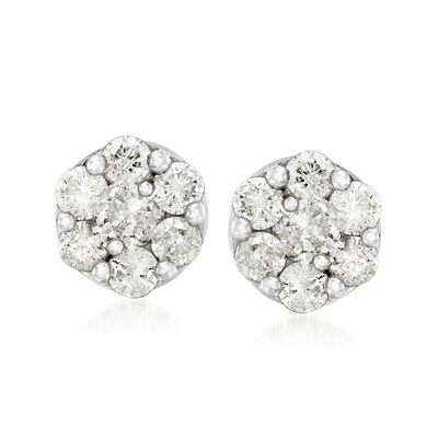 1.00 ct. t.w. Diamond Cluster Flower Earrings in 14kt White Gold