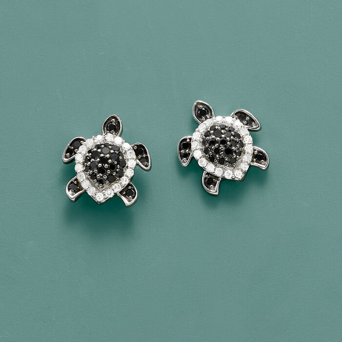.33 ct. t.w. Black and White Diamond Turtle Earrings in Sterling Silver