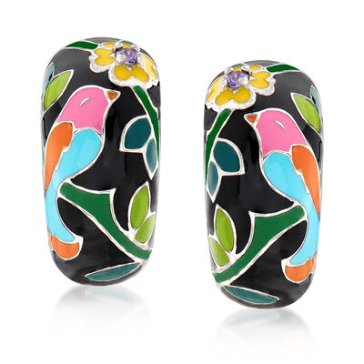 "Belle Etoile ""Song Bird"" Multicolored Enamel Hoop Earrings with CZ Accents in Sterling Silver, , default"