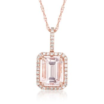 "1.40 Carat Morganite Pendant Necklace With .14 ct. t.w. Diamonds in 14kt Rose Gold. 18"", , default"