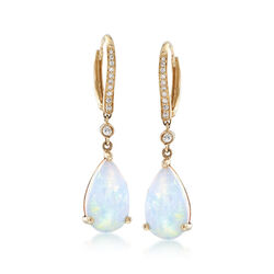 Ethiopian Opal and .18 ct. t.w. Diamond Drop Earrings in 14kt Yellow Gold, , default