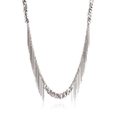 Italian Sterling Silver Leaf Fringe Necklace, , default
